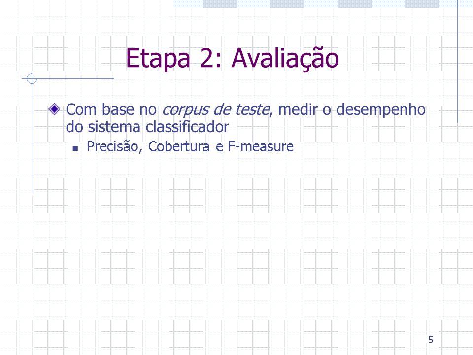 5 Etapa 2: Avaliação Com base no corpus de teste, medir o desempenho do sistema classificador Precisão, Cobertura e F-measure