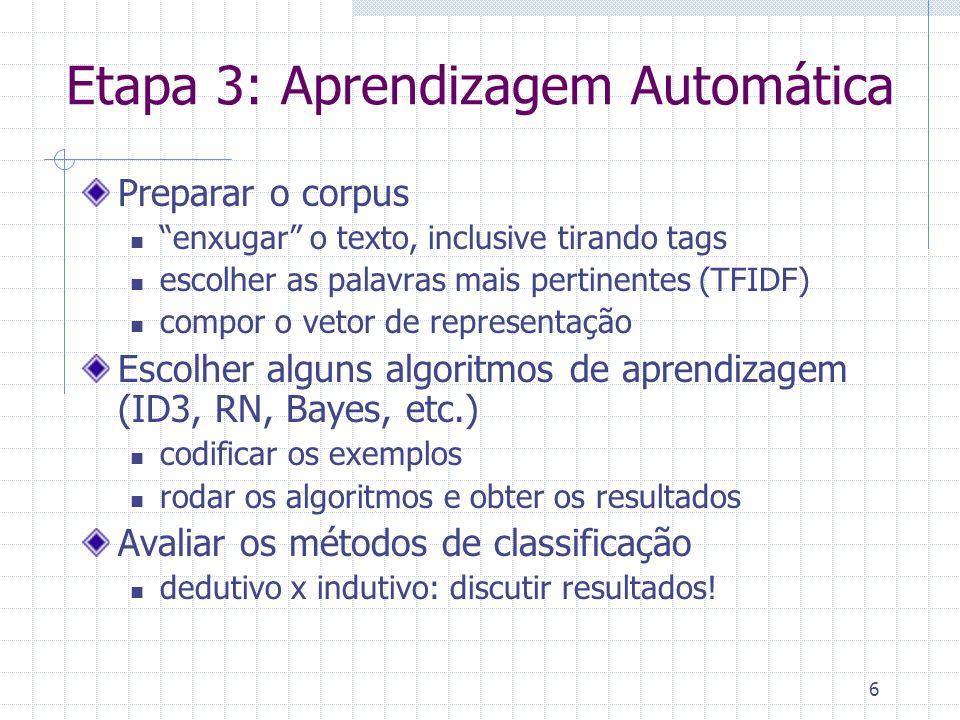 6 Etapa 3: Aprendizagem Automática Preparar o corpus enxugar o texto, inclusive tirando tags escolher as palavras mais pertinentes (TFIDF) compor o vetor de representação Escolher alguns algoritmos de aprendizagem (ID3, RN, Bayes, etc.) codificar os exemplos rodar os algoritmos e obter os resultados Avaliar os métodos de classificação dedutivo x indutivo: discutir resultados!