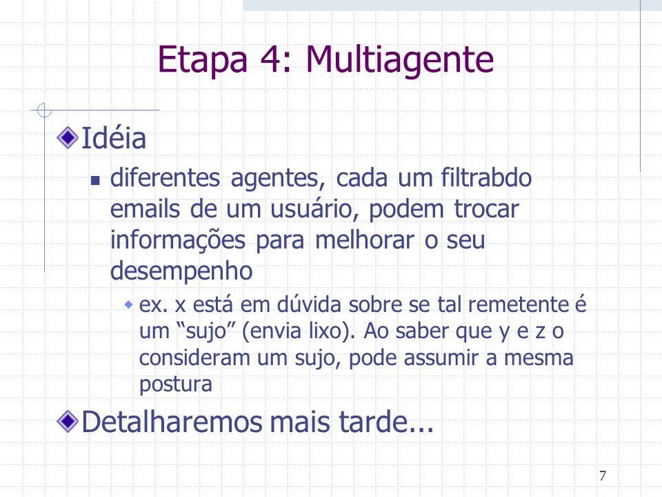 7 Etapa 4: Multiagente Idéia diferentes agentes, cada um filtrabdo emails de um usuário, podem trocar informações para melhorar o seu desempenho ex.