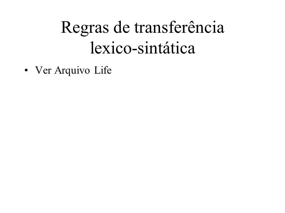 Regras de transferência lexicais (léxico bilíngüe) transfer(interpUk => constUk(syntrUk => syntr(syntcat => adv, present => yes, lex => X)), interpPt