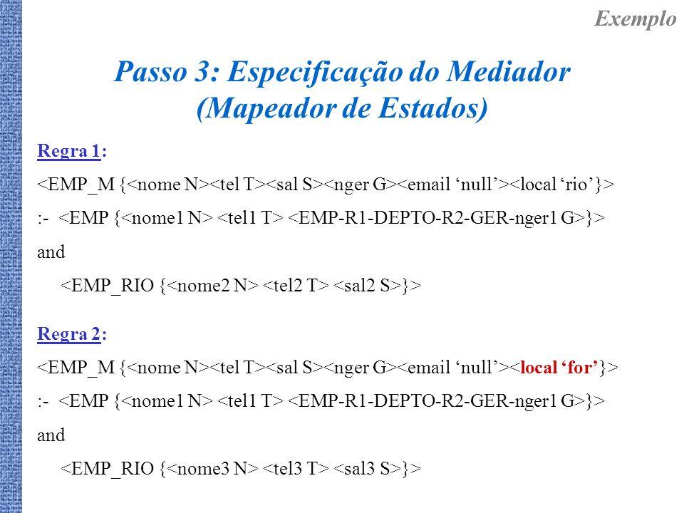 Regra 1: :- }> and }> Exemplo Passo 3: Especificação do Mediador (Mapeador de Estados) Regra 2: :- }> and }>