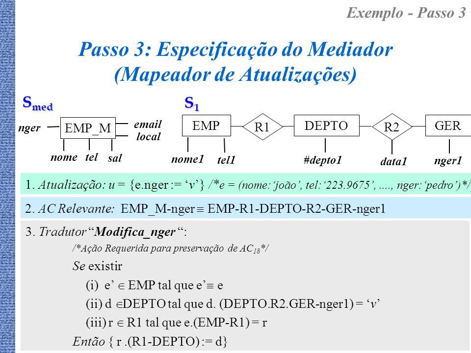 Passo 3: Especificação do Mediador (Mapeador de Atualizações) 3. Tradutor Modifica_nger : /*Ação Requerida para preservação de AC 18 */ Se existir (i)