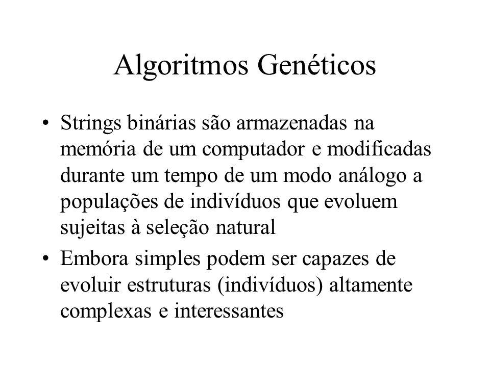 Algoritmos Genéticos Strings binárias são armazenadas na memória de um computador e modificadas durante um tempo de um modo análogo a populações de indivíduos que evoluem sujeitas à seleção natural Embora simples podem ser capazes de evoluir estruturas (indivíduos) altamente complexas e interessantes