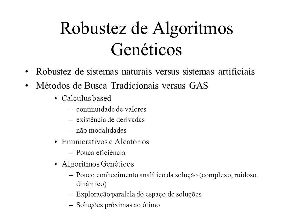 Robustez de Algoritmos Genéticos Robustez de sistemas naturais versus sistemas artificiais Métodos de Busca Tradicionais versus GAS Calculus based –continuidade de valores –existência de derivadas –não modalidades Enumerativos e Aleatórios –Pouca eficiência Algoritmos Genéticos –Pouco conhecimento analítico da solução (complexo, ruidoso, dinâmico) –Exploração paralela do espaço de soluções –Soluções próximas ao ótimo