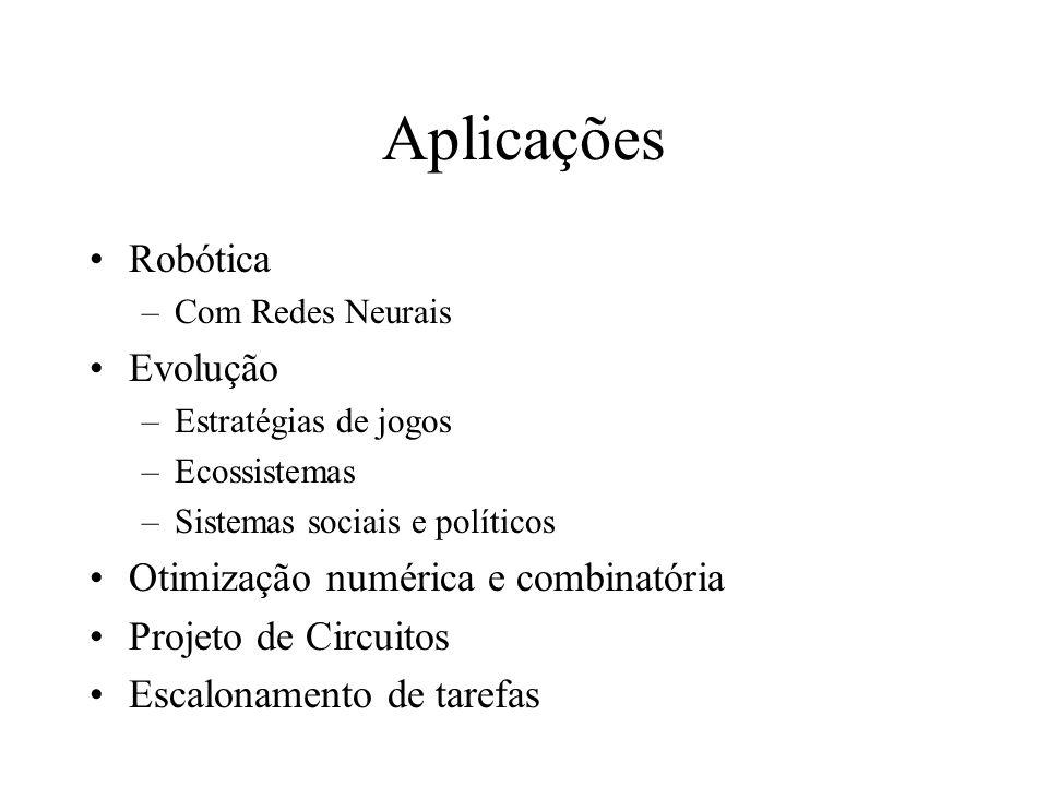 Aplicações Robótica –Com Redes Neurais Evolução –Estratégias de jogos –Ecossistemas –Sistemas sociais e políticos Otimização numérica e combinatória Projeto de Circuitos Escalonamento de tarefas