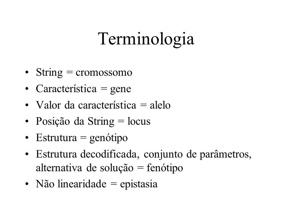 Terminologia String = cromossomo Característica = gene Valor da característica = alelo Posição da String = locus Estrutura = genótipo Estrutura decodificada, conjunto de parâmetros, alternativa de solução = fenótipo Não linearidade = epistasia