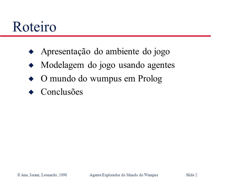 © Ana, Ioram, Leonardo, 1998Agente Explorador do Mundo do WumpusSlide 12 Base de conhecimento