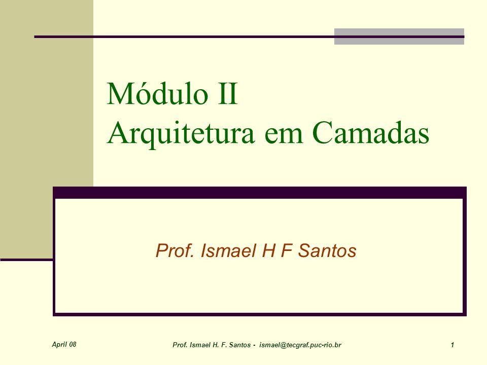 April 08 Prof. Ismael H. F. Santos - ismael@tecgraf.puc-rio.br 1 Módulo II Arquitetura em Camadas Prof. Ismael H F Santos