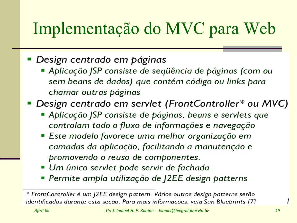 April 05 Prof. Ismael H. F. Santos - ismael@tecgraf.puc-rio.br 19 Implementação do MVC para Web