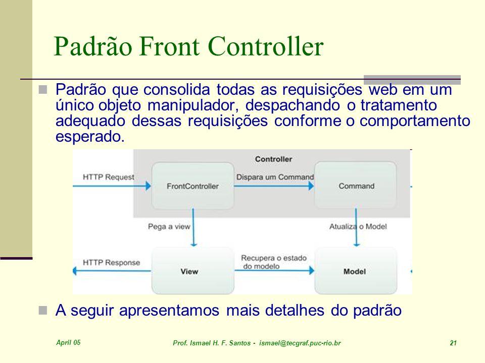 April 05 Prof. Ismael H. F. Santos - ismael@tecgraf.puc-rio.br 21 Padrão Front Controller Padrão que consolida todas as requisições web em um único ob