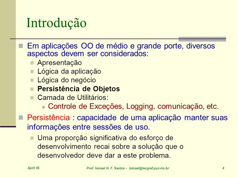 April 05 Prof. Ismael H. F. Santos - ismael@tecgraf.puc-rio.br 4 Introdução Em aplicações OO de médio e grande porte, diversos aspectos devem ser cons