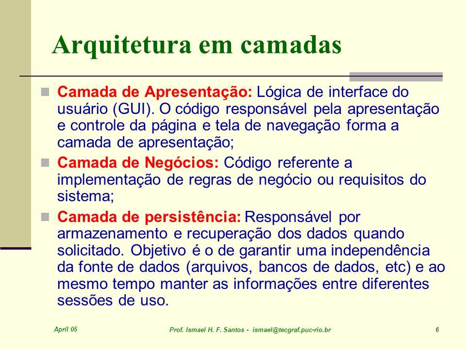 April 05 Prof. Ismael H. F. Santos - ismael@tecgraf.puc-rio.br 6 Arquitetura em camadas Camada de Apresentação: Lógica de interface do usuário (GUI).
