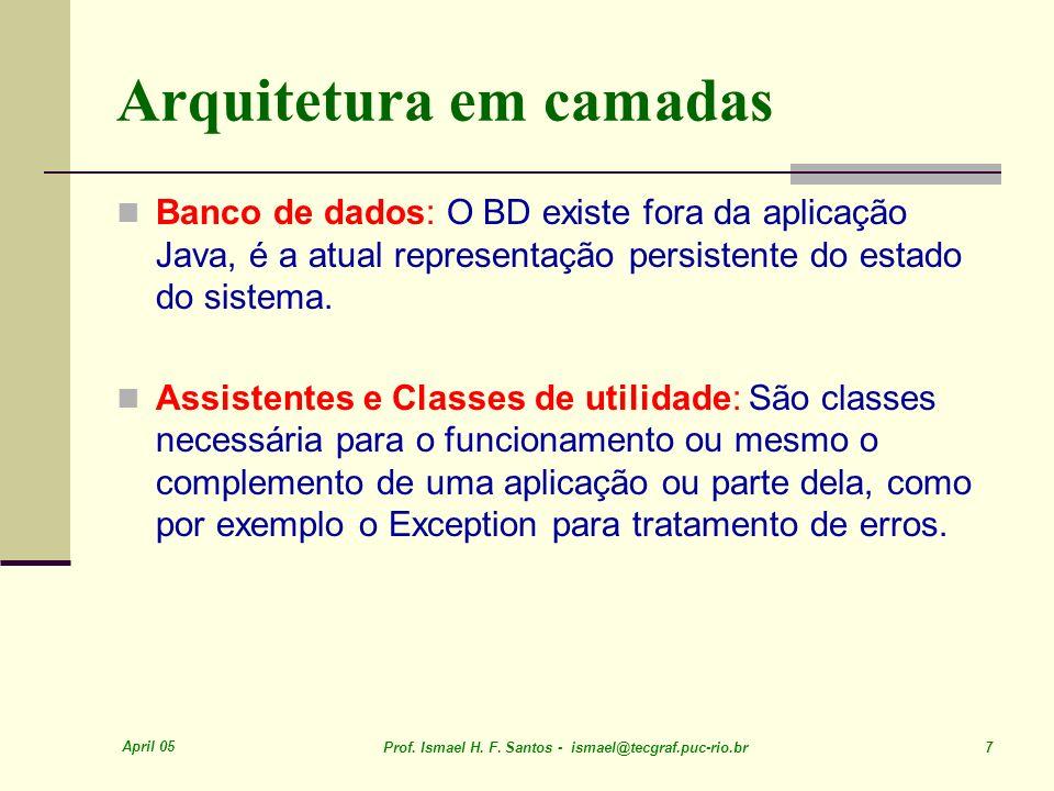 April 05 Prof. Ismael H. F. Santos - ismael@tecgraf.puc-rio.br 7 Arquitetura em camadas Banco de dados: O BD existe fora da aplicação Java, é a atual