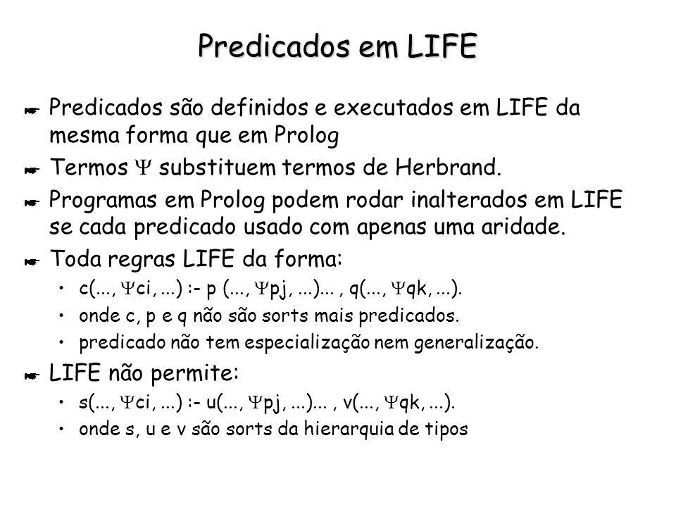 LIFE x Prolog * Programas em Prolog facilmente estendidos para LIFE Termos LIFE não têm aridade, mas indefinido número de argumentos t aridade não pode ser usada para distinguir predicados, como é feito em Prolog t programador deve usar nomes diferentes para predicados diferentes t unificação pode ser alcançada mesmo entre psi-termos com raízes diferentes (glb não vazio) Exemplo: pred (A, B, C) :- write(A), write(B), write(C).