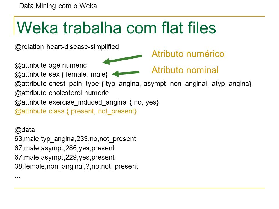 Data Mining com o Weka Weka trabalha com flat files @relation heart-disease-simplified @attribute age numeric @attribute sex { female, male} @attribut