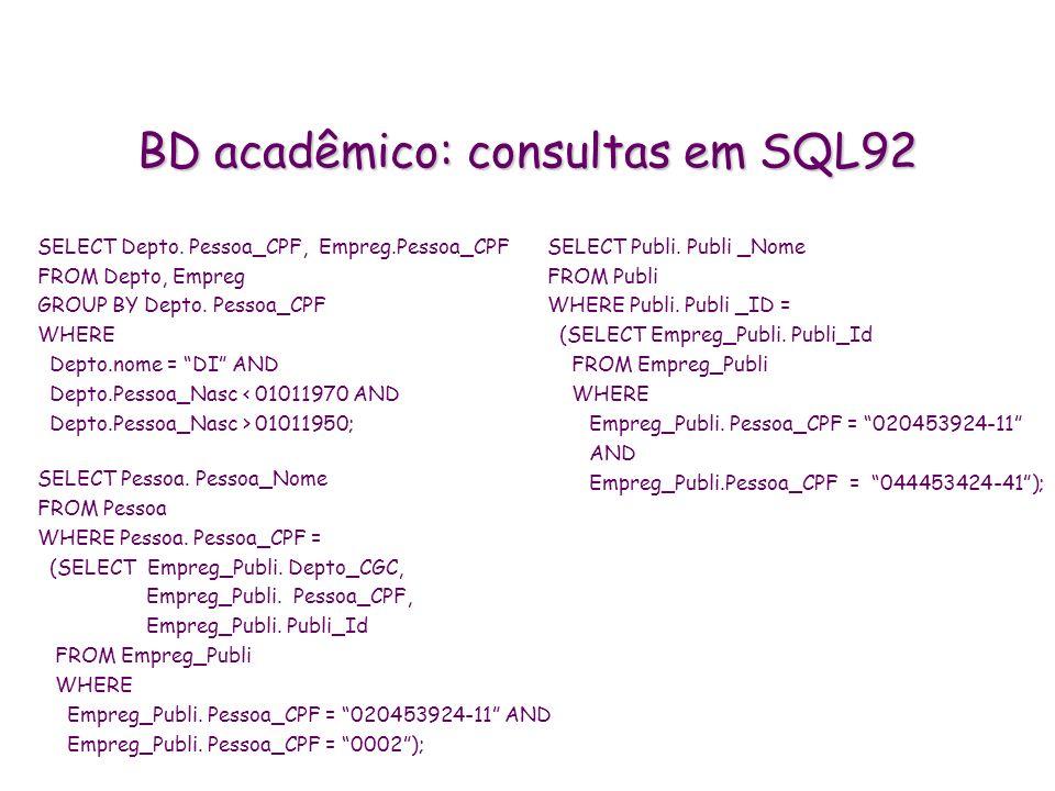 BD acadêmico: consultas em SQL92 SELECT Depto. Pessoa_CPF, Empreg.Pessoa_CPF FROM Depto, Empreg GROUP BY Depto. Pessoa_CPF WHERE Depto.nome = DI AND D