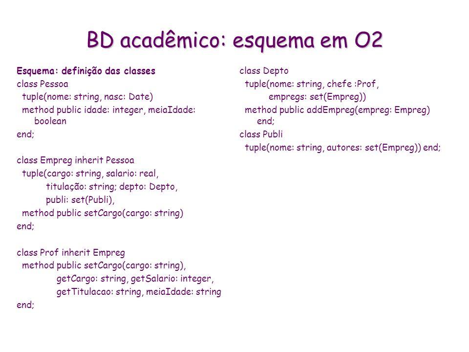 BD acadêmico: esquema em O2 Esquema: definição das classes class Pessoa tuple(nome: string, nasc: Date) method public idade: integer, meiaIdade: boole