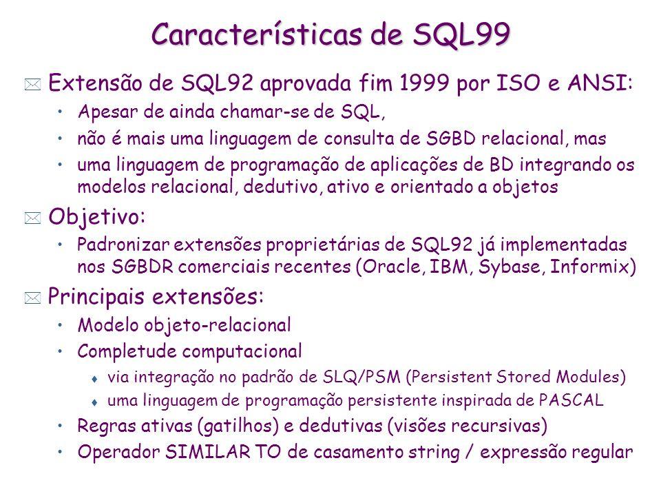 Características de SQL99 * Extensão de SQL92 aprovada fim 1999 por ISO e ANSI: Apesar de ainda chamar-se de SQL, não é mais uma linguagem de consulta