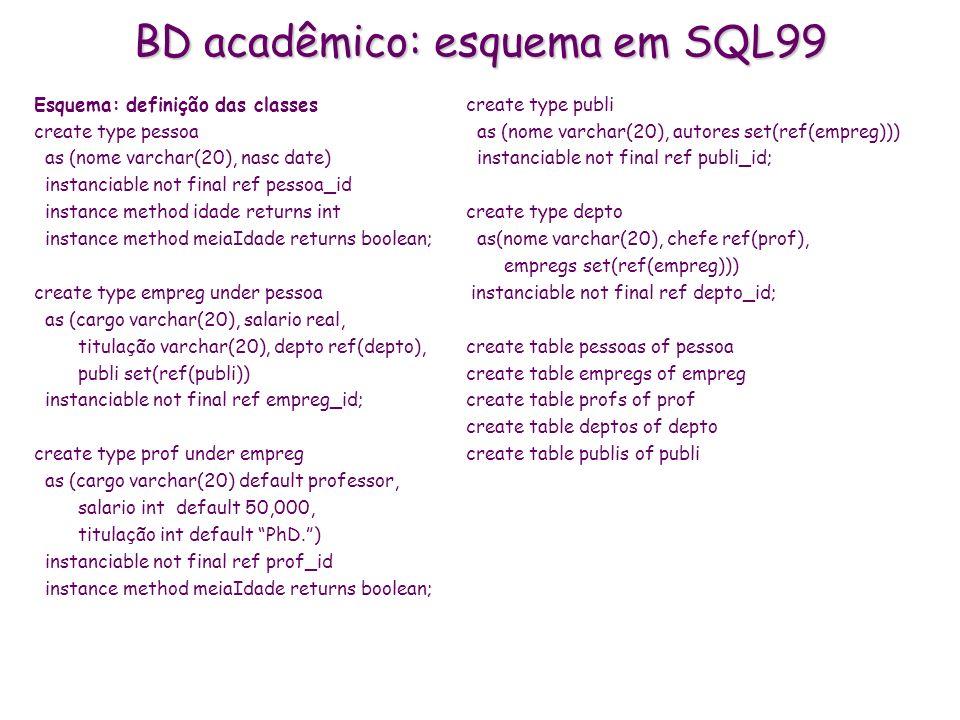 BD acadêmico: esquema em SQL99 Esquema: definição das classes create type pessoa as (nome varchar(20), nasc date) instanciable not final ref pessoa_id