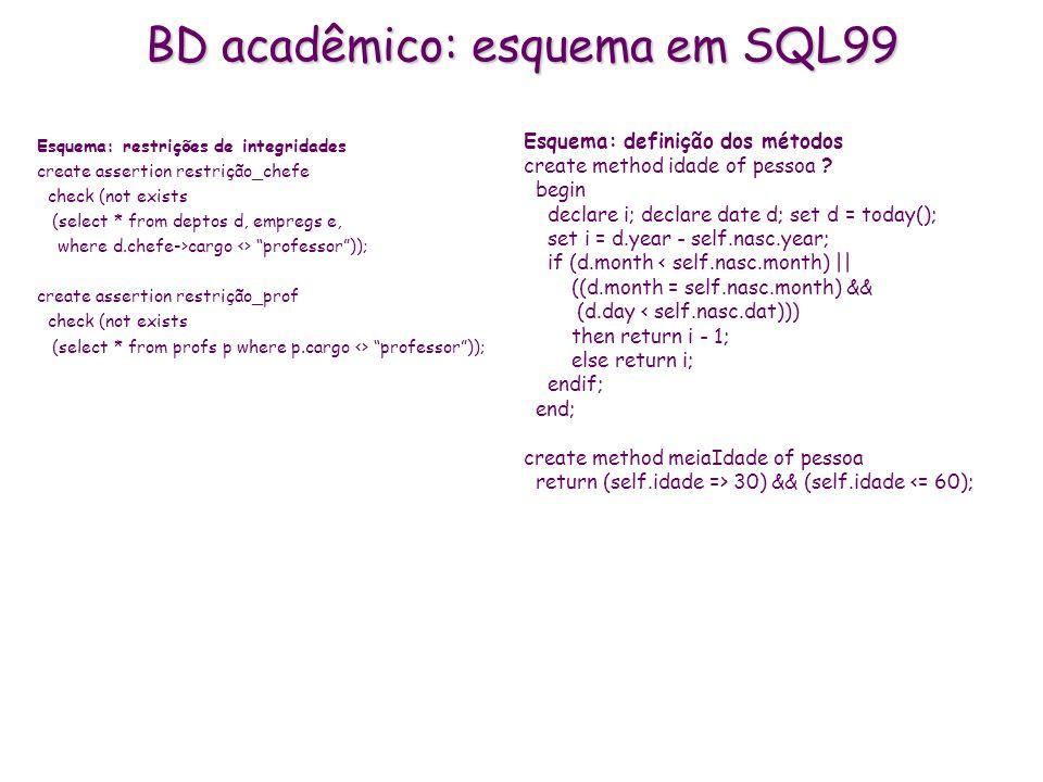 BD acadêmico: esquema em SQL99 Esquema: restrições de integridades create assertion restrição_chefe check (not exists (select * from deptos d, empregs