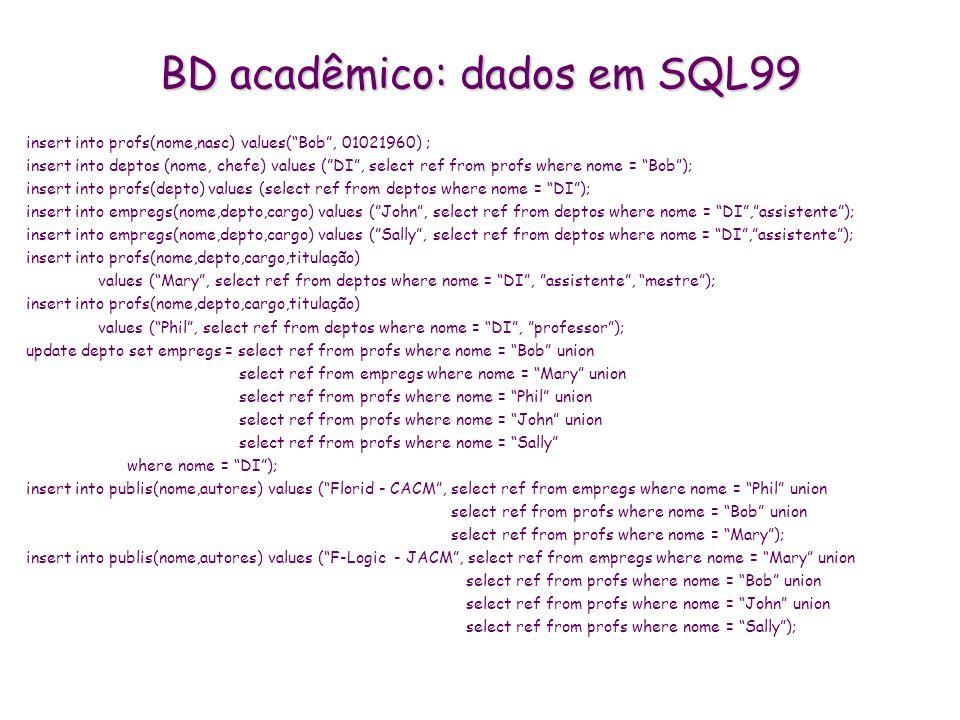 BD acadêmico: dados em SQL99 insert into profs(nome,nasc) values(Bob, 01021960) ; insert into deptos (nome, chefe) values (DI, select ref from profs w