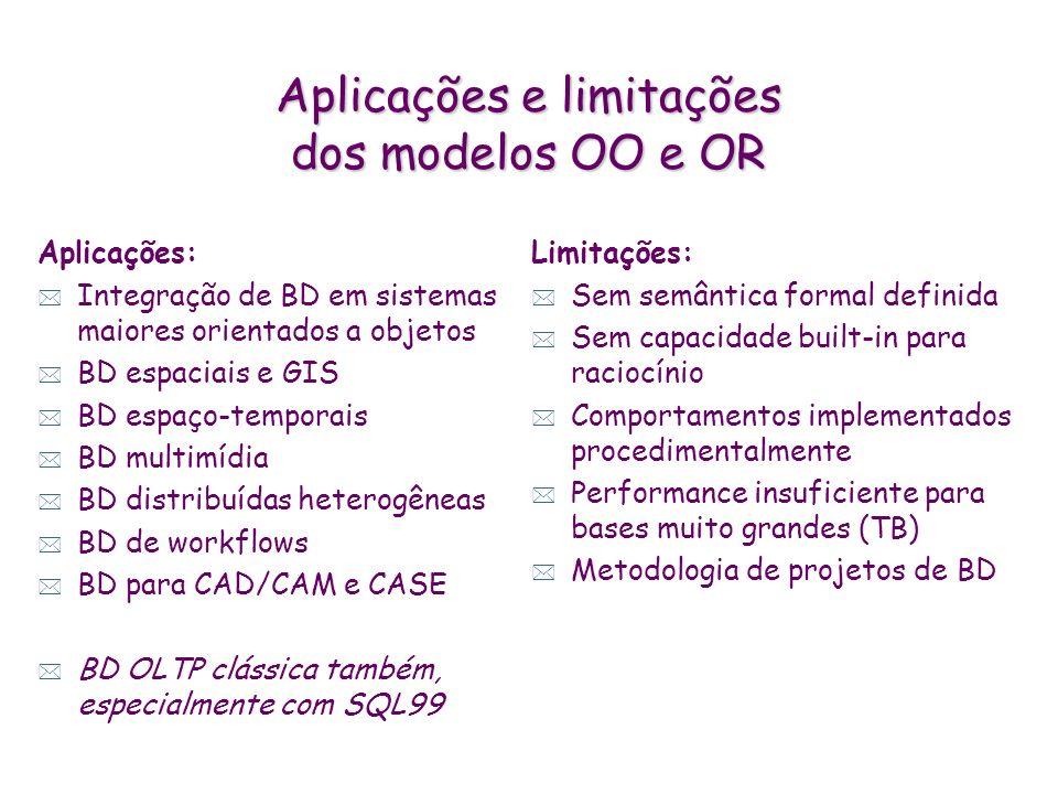 Aplicações e limitações dos modelos OO e OR Aplicações: * Integração de BD em sistemas maiores orientados a objetos * BD espaciais e GIS * BD espaço-t