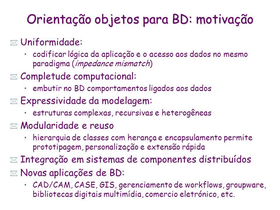 Orientação objetos para BD: motivação * Uniformidade: codificar lógica da aplicação e o acesso aos dados no mesmo paradigma (impedance mismatch) * Com