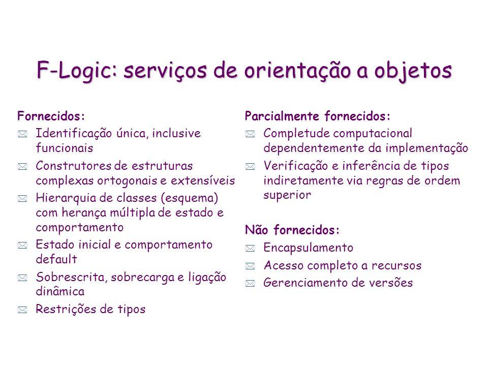 F-Logic: serviços de orientação a objetos Fornecidos: * Identificação única, inclusive funcionais * Construtores de estruturas complexas ortogonais e