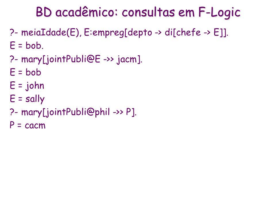 BD acadêmico: consultas em F-Logic ?- meiaIdade(E), E:empreg[depto -> di[chefe -> E]]. E = bob. ?- mary[jointPubli@E ->> jacm]. E = bob E = john E = s