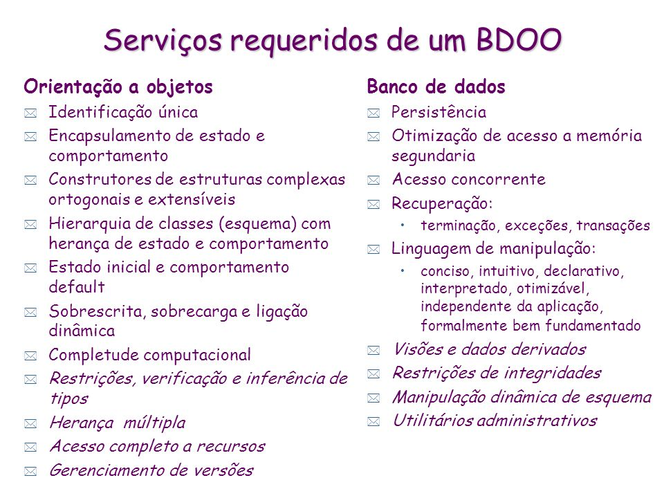 Serviços requeridos de um BDOO Orientação a objetos * Identificação única * Encapsulamento de estado e comportamento * Construtores de estruturas comp