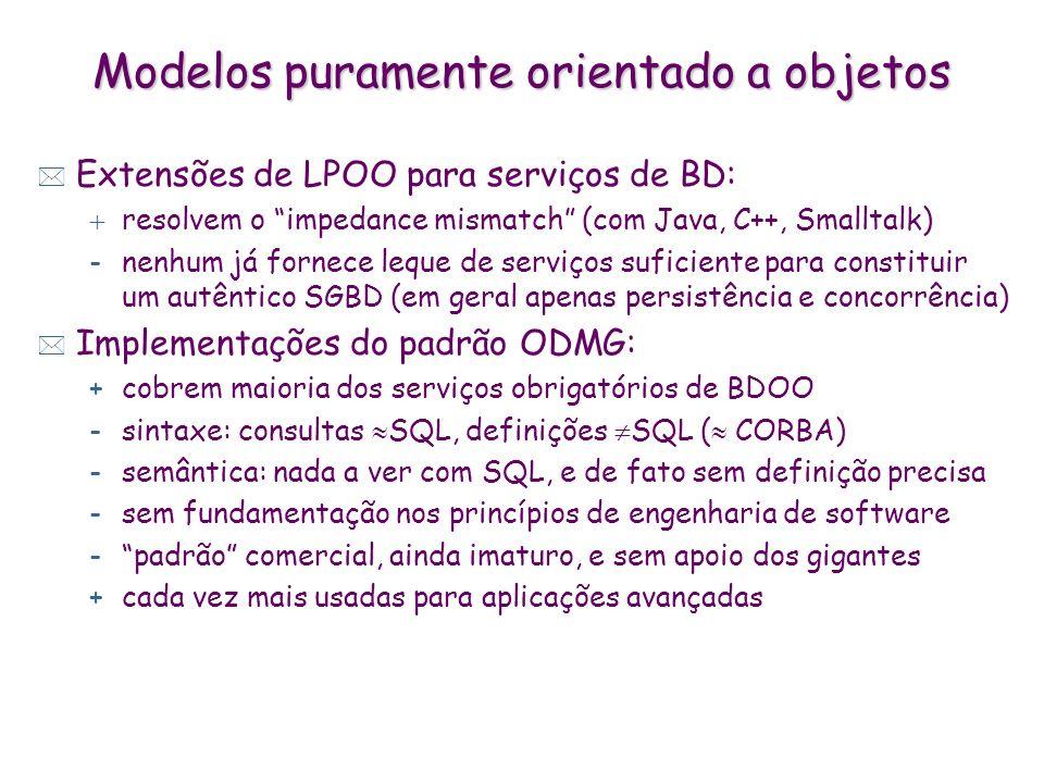 Modelos puramente orientado a objetos * Extensões de LPOO para serviços de BD: resolvem o impedance mismatch (com Java, C++, Smalltalk) -nenhum já for