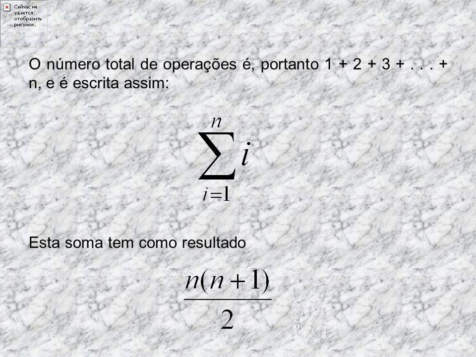Provavelmente o caso mais simples é o de loop de tamanho n, de forma que o i-ésimo termo necessite de i operações: int temp; for(int i = 0; i <= n; i++) { temp = 2 i ; }