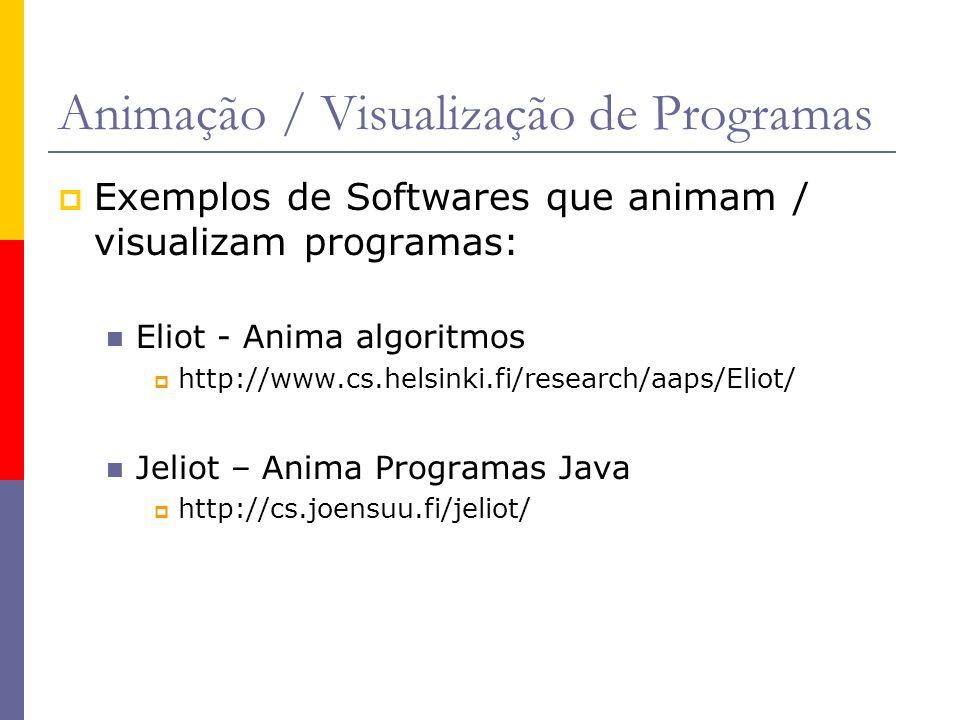 Animação / Visualização de Programas Exemplos de Softwares que animam / visualizam programas: Eliot - Anima algoritmos http://www.cs.helsinki.fi/research/aaps/Eliot/ Jeliot – Anima Programas Java http://cs.joensuu.fi/jeliot/