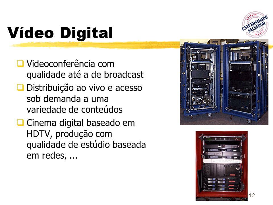 12 Vídeo Digital Videoconferência com qualidade até a de broadcast Distribuição ao vivo e acesso sob demanda a uma variedade de conteúdos Cinema digit