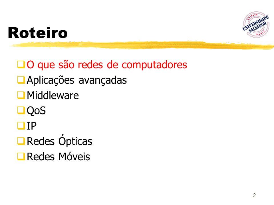 2 Roteiro O que são redes de computadores Aplicações avançadas Middleware QoS IP Redes Ópticas Redes Móveis