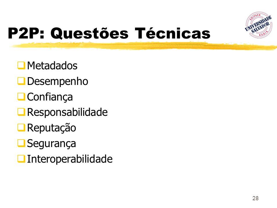 28 P2P: Questões Técnicas Metadados Desempenho Confiança Responsabilidade Reputação Segurança Interoperabilidade