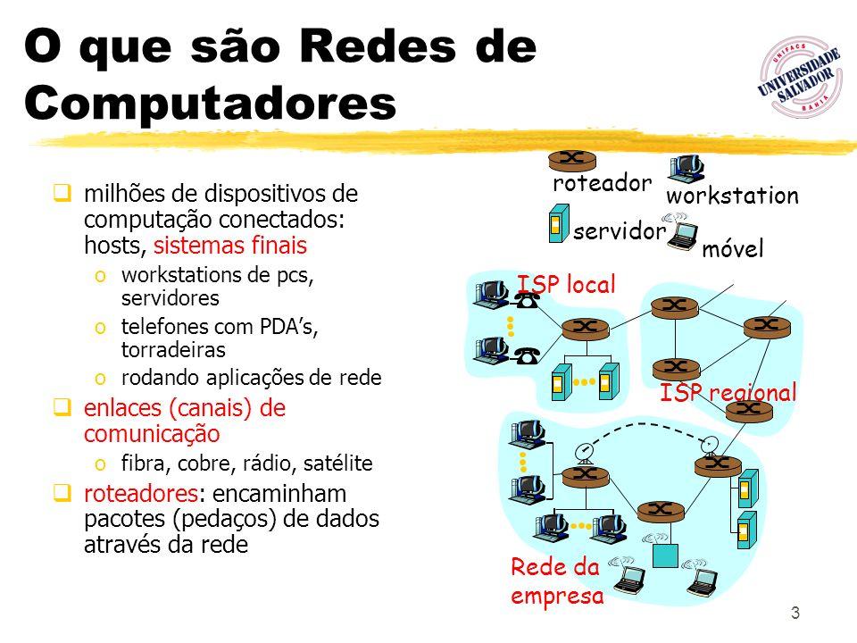 3 O que são Redes de Computadores milhões de dispositivos de computação conectados: hosts, sistemas finais oworkstations de pcs, servidores otelefones