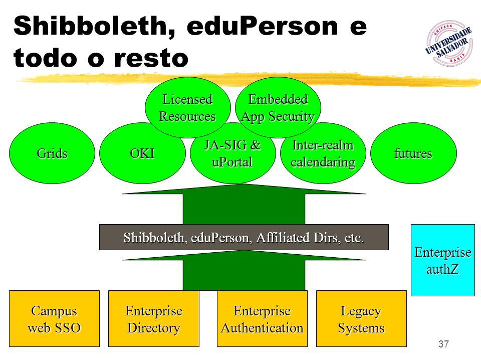 37 Middleware Inputs & Outputs Grids JA-SIG & uPortalOKIInter-realmcalendaring Shibboleth, eduPerson, Affiliated Dirs, etc. EnterpriseDirectoryEnterpr