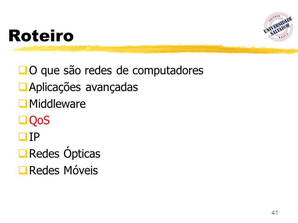 41 Roteiro O que são redes de computadores Aplicações avançadas Middleware QoS IP Redes Ópticas Redes Móveis