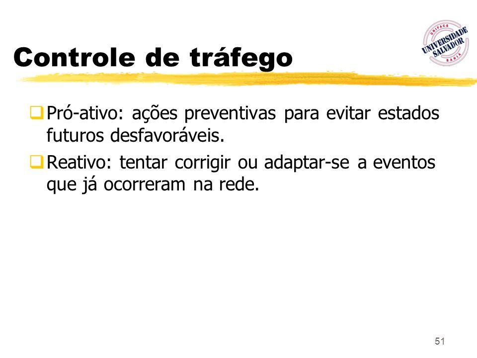 51 Controle de tráfego Pró-ativo: ações preventivas para evitar estados futuros desfavoráveis. Reativo: tentar corrigir ou adaptar-se a eventos que já