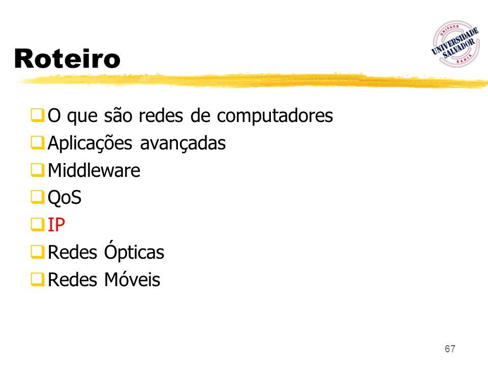 67 Roteiro O que são redes de computadores Aplicações avançadas Middleware QoS IP Redes Ópticas Redes Móveis