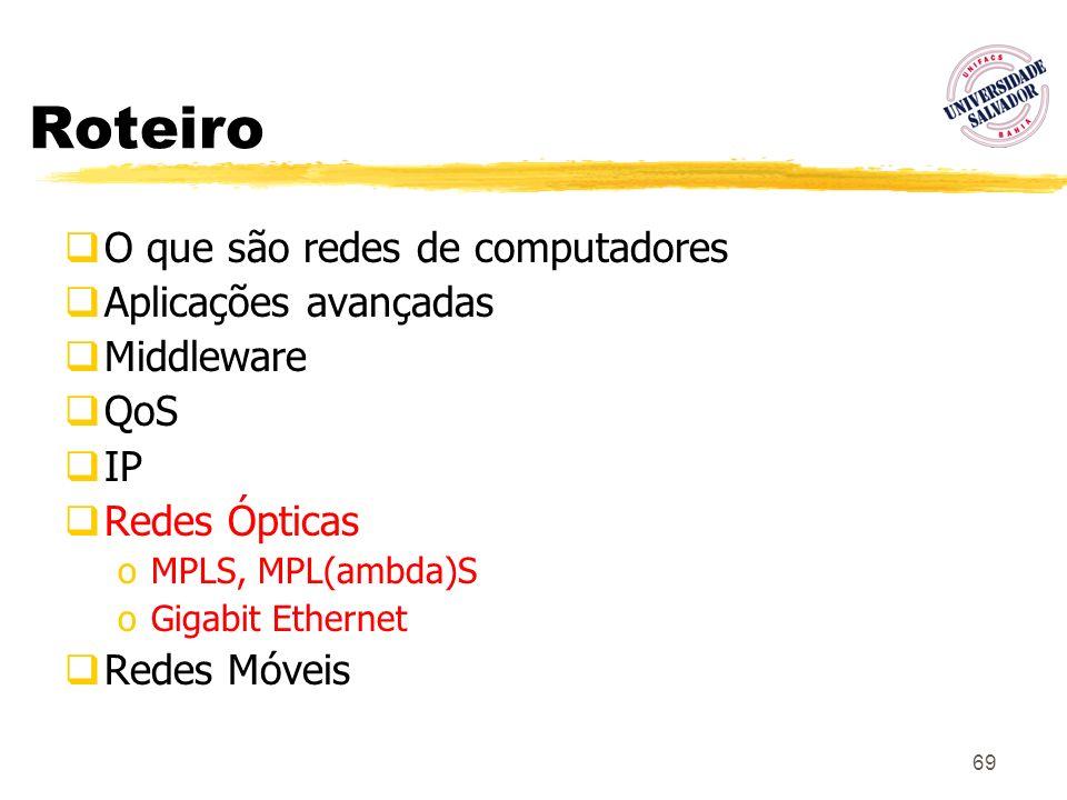 69 Roteiro O que são redes de computadores Aplicações avançadas Middleware QoS IP Redes Ópticas oMPLS, MPL(ambda)S oGigabit Ethernet Redes Móveis