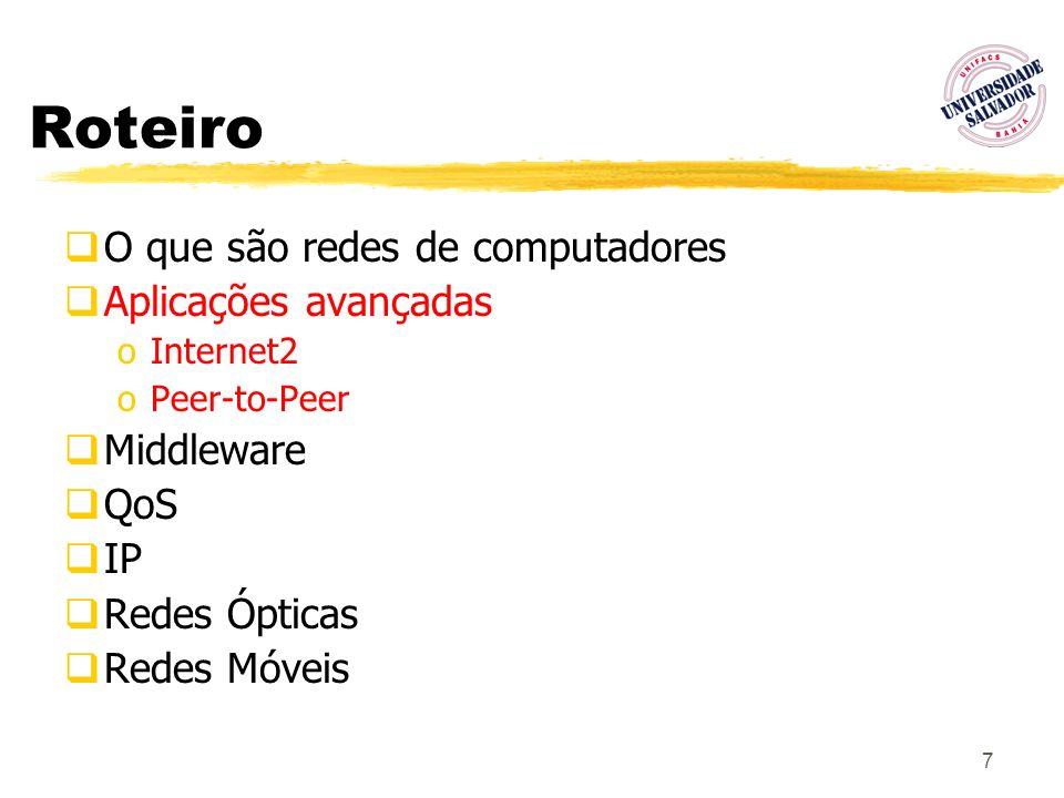 7 Roteiro O que são redes de computadores Aplicações avançadas oInternet2 oPeer-to-Peer Middleware QoS IP Redes Ópticas Redes Móveis