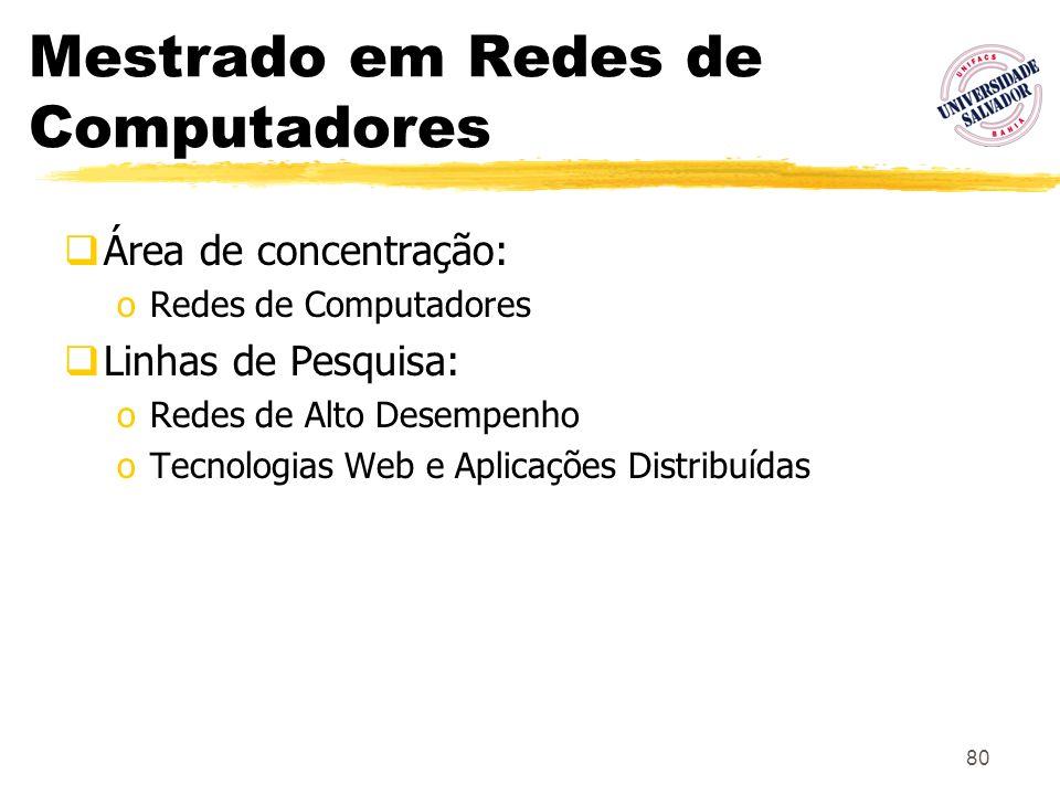 80 Mestrado em Redes de Computadores Área de concentração: oRedes de Computadores Linhas de Pesquisa: oRedes de Alto Desempenho oTecnologias Web e Apl