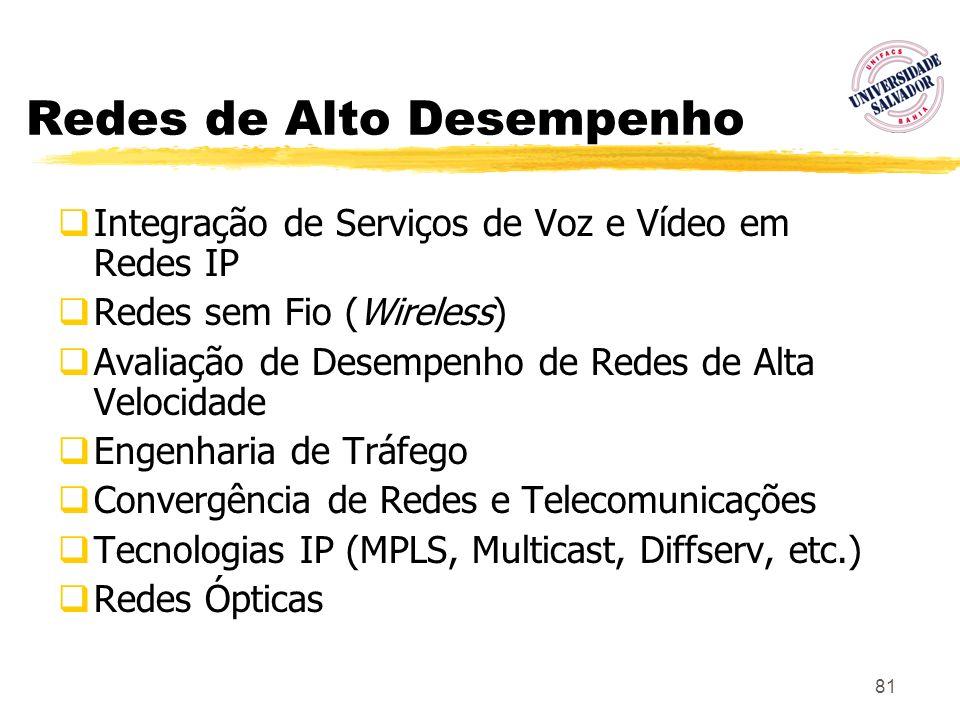 81 Redes de Alto Desempenho Integração de Serviços de Voz e Vídeo em Redes IP Redes sem Fio (Wireless) Avaliação de Desempenho de Redes de Alta Veloci