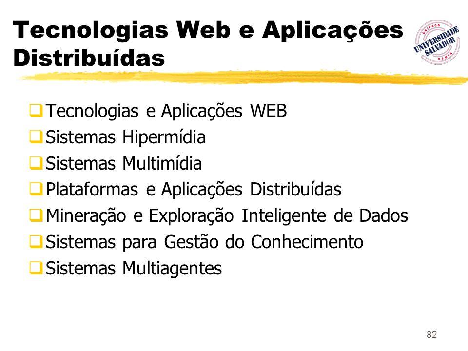 82 Tecnologias Web e Aplicações Distribuídas Tecnologias e Aplicações WEB Sistemas Hipermídia Sistemas Multimídia Plataformas e Aplicações Distribuída