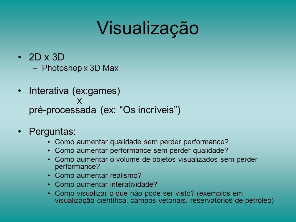 Visualização 2D x 3D –Photoshop x 3D Max Interativa (ex:games) x pré-processada (ex: Os incríveis) Perguntas: Como aumentar qualidade sem perder perfo