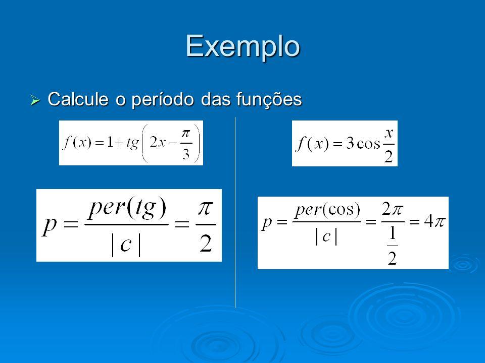 Exemplo Calcule o período das funções Calcule o período das funções