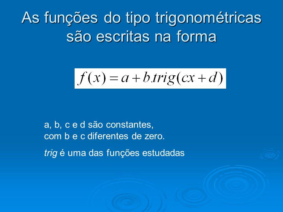 As funções do tipo trigonométricas são escritas na forma a, b, c e d são constantes, com b e c diferentes de zero. trig é uma das funções estudadas