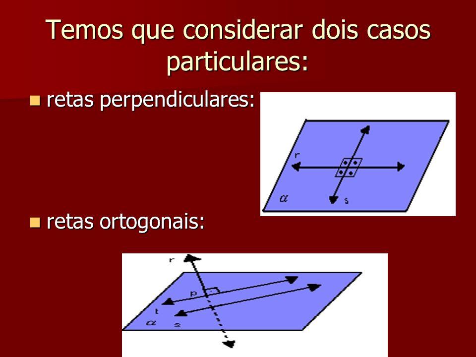 Temos que considerar dois casos particulares: retas perpendiculares: retas perpendiculares: retas ortogonais: retas ortogonais:
